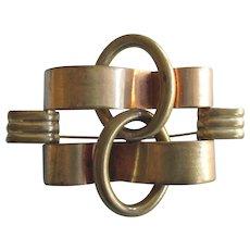 Bold Art Deco Geometric Metal Large Brass Brooch