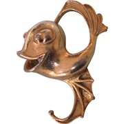 Whimsical Vintage Signed Coro Large Googly Eyed Fish Brooch in Goldtone