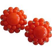 Vibrant Vintage Tangerine Orange Oversized Cluster Clip Earrings with Rhinestones