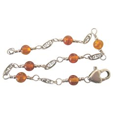 "SALE!  Pretty Sterling and Amber Bead 7-3/4"" Bracelet, Heart Clasp"