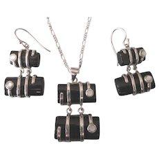 Stunning Sterling Black Onyx Modernist Set, Pendant, Chain, Pierced Earrings