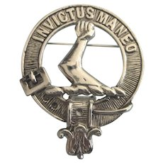 "Vintage Brooch, Celtic Scotland ""Invictus Maneo"" - I Remain Unvanquished - Armstrong Crest"