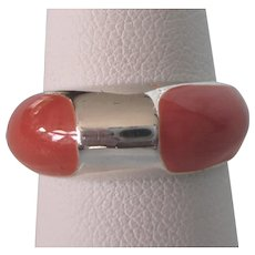 Signed Milor Sterling and Orange Enamel Band Ring, Size 8