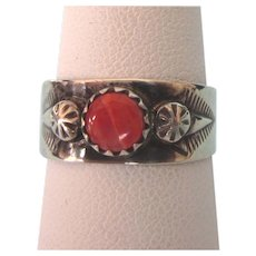 Vintage Navajo Signed Nila Cook Sterling Orange Spiny Oyster Ring, Size 6-1/2