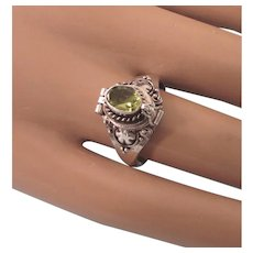 Sterling and Green Peridot Gemstone Poison Ring, Size 7-3/4