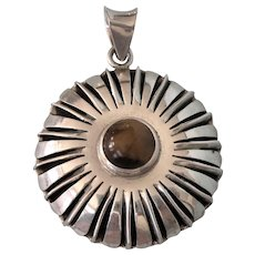 Gorgeous Sterling and Tiger's Eye Large Starburst Design Pendant