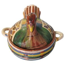 Vintage Tlaquepaque Mexican Folk Art Turkey Hand Painted Pottery Covered Casserole Dish Mexico