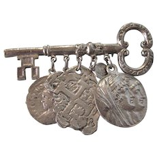 Chunky Vintage Key With Coin Dangles Silvertone Brooch