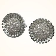 Signed Crown Trifari Pave and Baguette Rhinestone Clip Silvertone Earrings