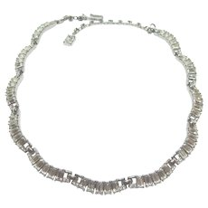 Brilliant Vintage All Baguette Rhinestone Trifari Choker Necklace, Rhodium Plated