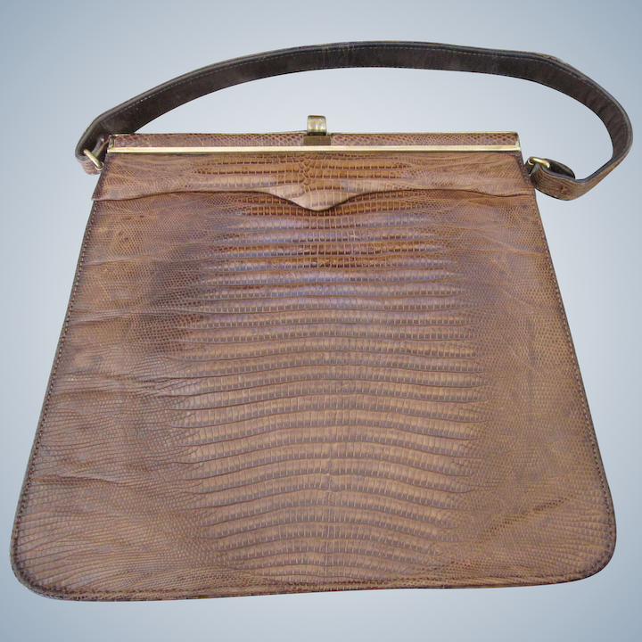 9cfff827700 Stunning Vintage Palizzio ... Very New York Lizard Skin Brown Purse - : Del  Mar II - Jewels and Antiques | Ruby Lane