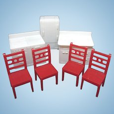 Allied Dollhouse Furniture, 7 Pieces, Kitchen and Red Chairs