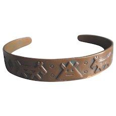 Vintage Navajo Native American Copper Cuff Bracelet, Child's Size of Very Small - Symbols