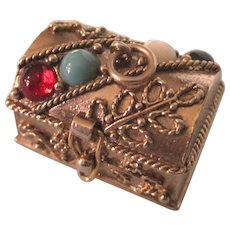 Vintage Jewelled Treasure Chest Charm or Pendant, Avon's Queen's Ransom