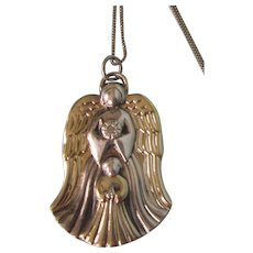 "Sterling Silver Gorham Guardian Angel Pendant Necklace With Diamond Accent, 18"" Sterling Chain"