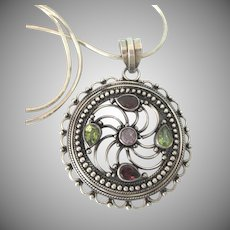 "Fabulous Sterling Multi-Gemstone Large, Ornate Pendant Necklace, 18"" Sterling Snake Chain"