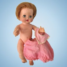 """Vintage Madame Alexander Baby Doll, 11"""" Rubber, With Tagged Dress, As Found"""