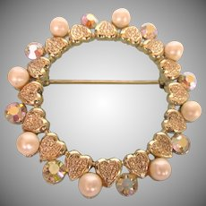 Vintage Large Circle Pin With Hearts, Faux Pearls, Rhinestones