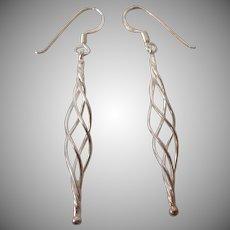 Sleek Sterling Silver Spiral Dangle Pierced Earrings