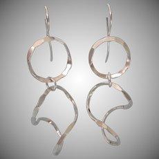 Vintage Sterling Modernist Design Dangle Pierced Earrings