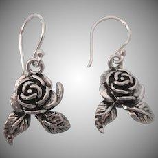 Vintage Sterling Dangling Roses Pierced Earrings