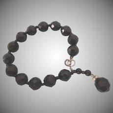 Art Deco Black Faceted Glass Bead Bracelet, Small Size