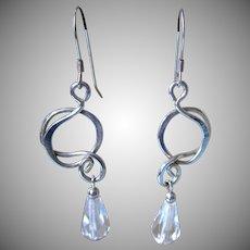 Vintage Sterling and Crystal Dangle Pierced Earrings