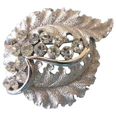 Signed Crown Trifari Rhinestone Brushed Silvertone Leaves Brooch