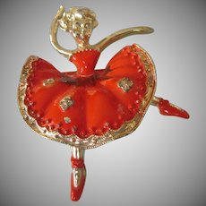 Vintage Ballerina Pin, Orange Enamel and Goldtone