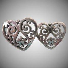 James Avery Retired Ornate Heart Pierced Earrings With Openwork