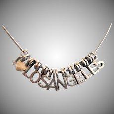 "Vintage I Heart Los Angeles Charm Silvertone Necklace, 16"" - 18"""