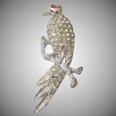 Vintage Rhinestone Tropical Bird Silvertone Brooch