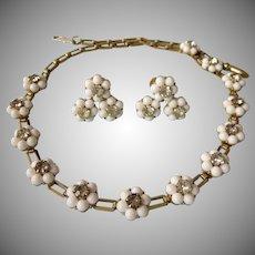 Feminine White Bead & Rhinestone Floral Vintage Set - Necklace and Screw Back Earrings
