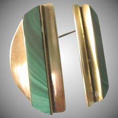 Stunning Malachite Gemstone Goldplated Geometric Modernist Pierced Earrings