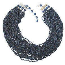 """Fabulous Vintage 36"""" Strand Cobalt Irridescent Glass Seed Bead 16"""" Choker Necklace"""