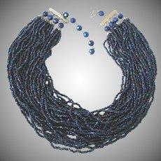 "Fabulous Vintage 36"" Strand Cobalt Glass Seed Bead 16"" Choker Necklace"