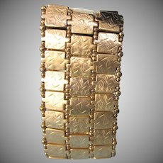 "Chunky Embossed Satin Goldtone Stretch 2"" Wide Bracelet - Stunning!"