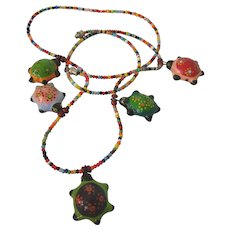"Whimsical Paper Mache Turtle 27"" Necklace"