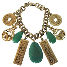 Vintage Chunky Asian Theme Charm Bracelet With Faux Jade Gemstones