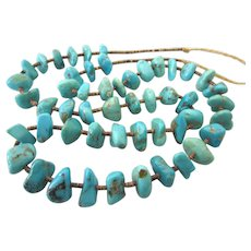 "Vintage Turquoise Nugget and Heishi 27"" Necklace"