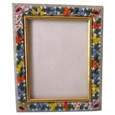 Vintage Italian Micromosaic Small Rectangle Frame, Hallmarked