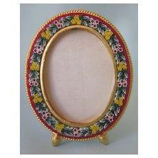 Lovely Vintage Italian Micromosaic Small Oval Frame, Hallmarked