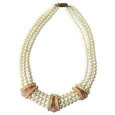 "Vintage Rose Quartz, Faux Pearl and Rhinestone Bib 17"" Necklace"