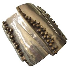 Vintage Mixed Metals Wide Cuff Bracelet 'Arts and Crafts'