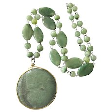"""Vintage Green Carved Mexican Onyx Pendant 28"""" Necklace"""