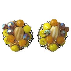 Vintage Czech Bead Filigree Clip Back Earrings - Yellow and Amber