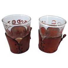 Pair of Westner Leather and Branding Iron Shot Glass Glasses