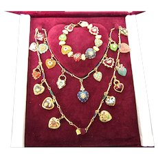 Retired Joan Rivers Hearts & Flowers Complete 19 Charm Necklace With Bracelet, Presentation Box and Certificate