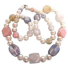 "Vintage 32""Chunky Faux Pearl and Pastel Lucite Rope Necklace"