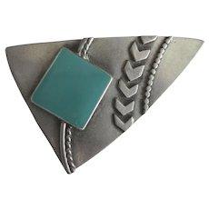 Vintage Modernist Design Brooch Signed JJ 1988, Pewter Faux Turquoise